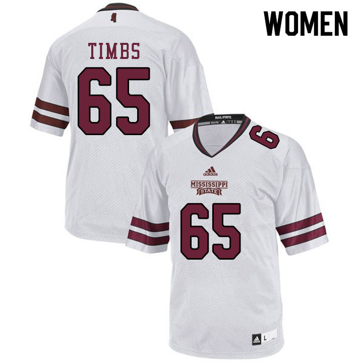 Women #65 Sherman Timbs Mississippi State Bulldogs College Football Jerseys Sale-White